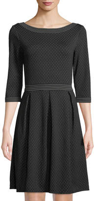 Max Studio Pin Dot Pleated Fit-and-Flare Dress