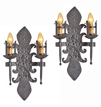 Rejuvenation Pair of Hand-Crafted Large Wrought Iron Candle Sconces
