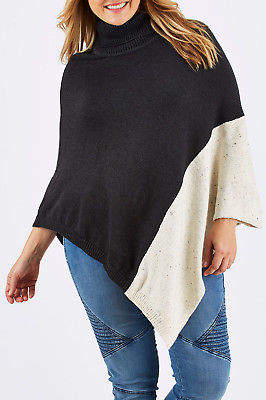 NEW bird keepers Womens Ponchos The Panel Knit Poncho Charcoal