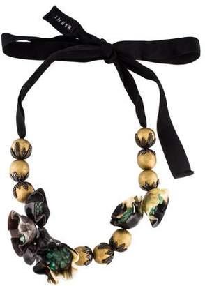 Marni Horn, Resin & Stone Collar Necklace
