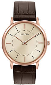Bulova Men's Stainess Rosetone Ultra-Slim Leather Strap Watch