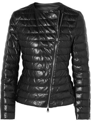 Moncler Quilted Leather Down Jacket - Black