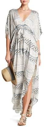 Love Stitch Print Tie-Front Caftan Dress