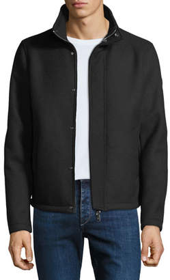 Emporio Armani Men's Broadcloth Blouson Coat with Faux-Fur Lining
