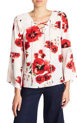 Bobeau B Collection by Sybil Floral Lace-Up Blouse