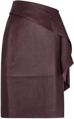 Gestuz Aliah Plum Leather Midi Skirt