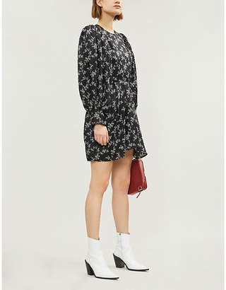 Isabel Marant Floral-print flared-skirt silk dress