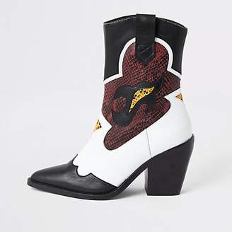 River Island White leather cutout cowboy ankle boots