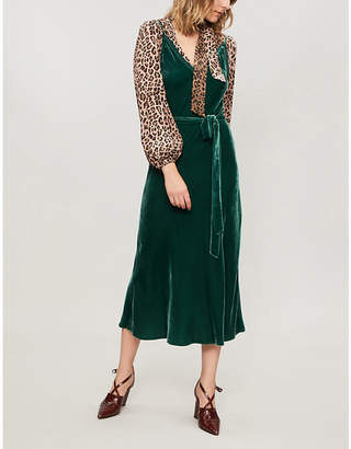 Frame Split-hem velvet midi dress