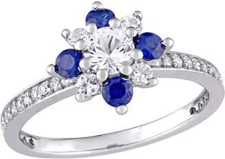 14K 1.20 cttw White & Blue Sapphire Flower Ring