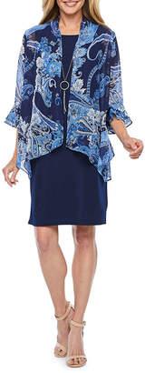 R & K Originals 3/4 Bell Sleeve Faux Jacket Dress