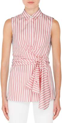 Akris Punto Stripe Cotton Wrap Blouse