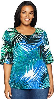Calvin Klein Women's Plus Size Printed Flutter Sleeve with Buttons