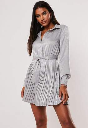 Missguided Gray Pleated Self Belted Shirt Dress