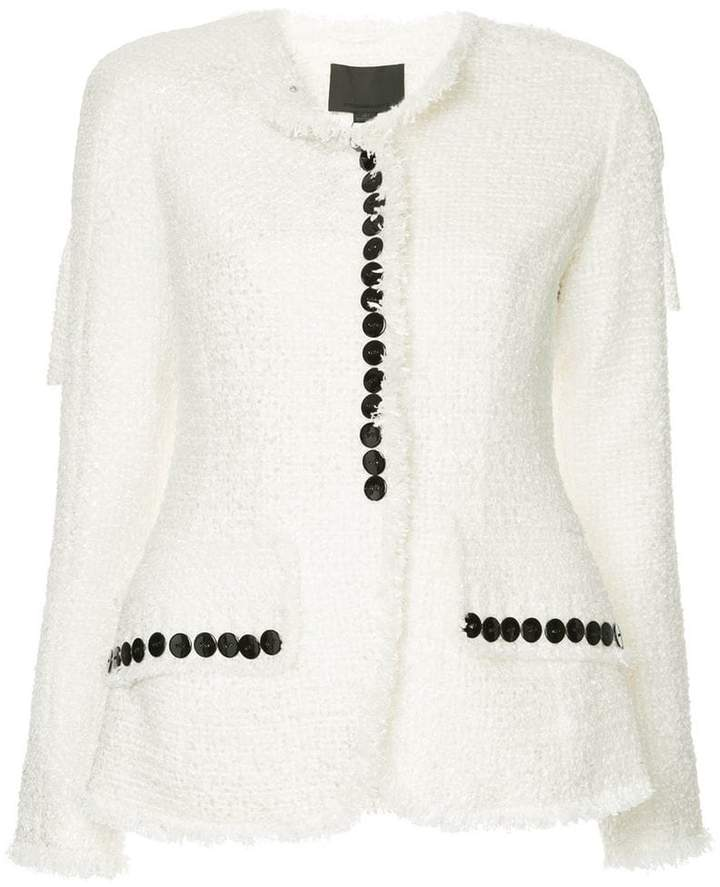 sculpted jacket with contrast buttons