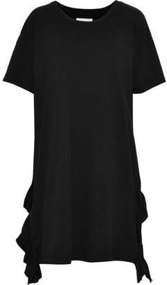 Current/Elliott The Ss Side Slit Ruffle-Trimmed Cotton-Jersey Mini Dress