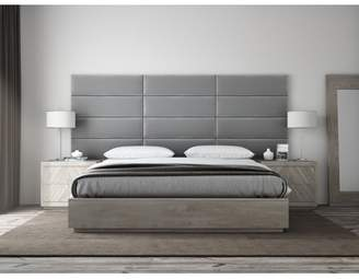 "Ash VANT Upholstered Headboards - Accent Wall Panels - Packs Of 4 - PLUSH VELVET Smoke Gray - 39"" Wide x 11.5"" Height - Twin - King Size Headboard"