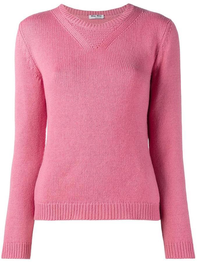 Miu MiuMiu Miu knitted crew neck sweater
