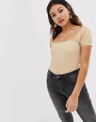 Miss Selfridge milkmaid top with puff sleeves in stone