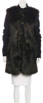 Rachel Zoe Faux Fur-Trimmed Wool Coat