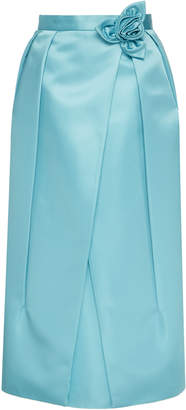 Prada High-Waisted Flower-Trimmed Satin Midi Skirt Size: 40