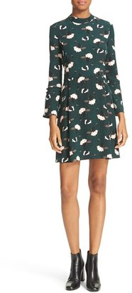 Women's Derek Lam 10 Crosby Print Silk Bell Sleeve Dress $495 thestylecure.com