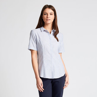 Savanna Shortsleeve Square Coupe Shirt $175 thestylecure.com