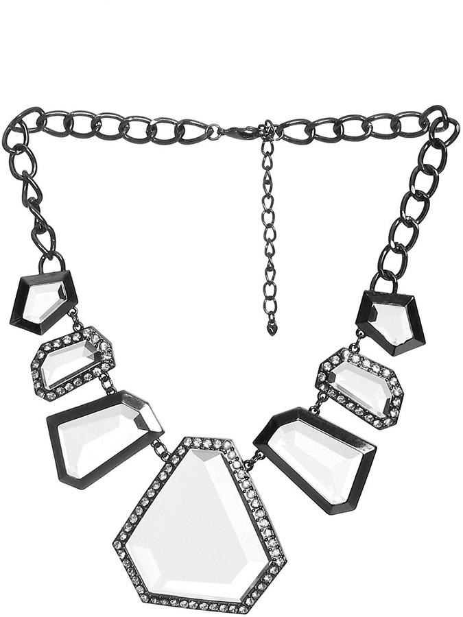 Arden B Stone Trim Statement Necklace