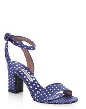 Tabitha Simmons Leticia Polka Dot Block Heel Cotton Sandals