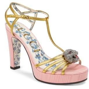 Gucci Elias Crystal Tiger T-Strap Sandal
