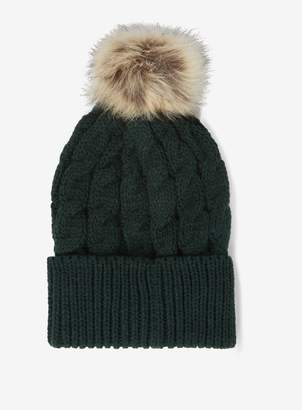 Dorothy Perkins Womens Green Cable Knit Pom Pom Hat