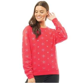Jacqueline De Yong Womens Funda Star Print Sweatshirt Flame Scarlet