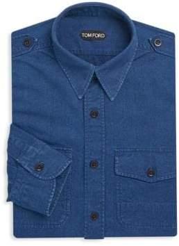 Tom Ford Epaulette Denim Dress Shirt