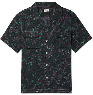 You As - Arlo Camp-Collar Printed Gauze Shirt - Navy
