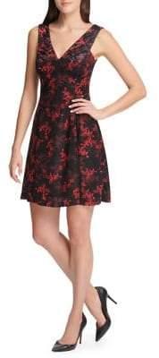 Kensie Dresses Floral Burnout Velvet V-Neck Flare Dress