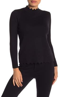 Cable & Gauge Scalloped Turtleneck Sweater (Petite)
