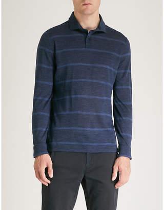 Corneliani Striped cotton-piqué polo shirt