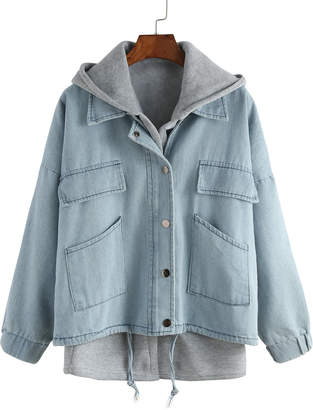 Shein Hooded Drawstring Denim Two Pieces Outerwear