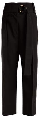 Petar Petrov Herma High Waisted Woven Tailored Trousers - Womens - Black