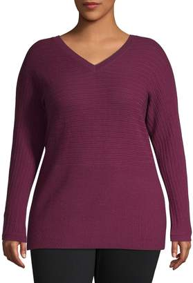 Lord & Taylor Plus Ribbed V-Neck Sweater