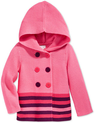 First Impressions Baby Girls' Double-Breasted Striped Hooded Sweater, Only at Macy's $36 thestylecure.com
