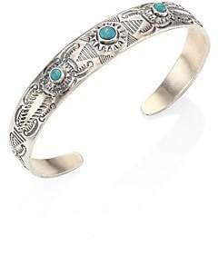 Chan Luu Women's Engraved Silver& Turquoise Cuff Bracelet