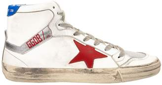 Golden Goose 2.12 High-Top Red Star Leather Sneakers