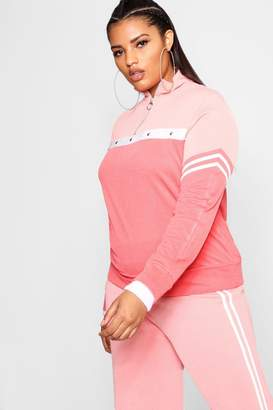 boohoo Plus Tonal Popper Stripe Track Top