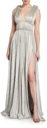 Jonathan Simkhai Plisse Metallic Plunging Maxi Dress