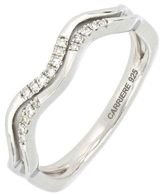 Carriere Sterling Silver Diamond Wavy Stack Ring - 0.07 ctw
