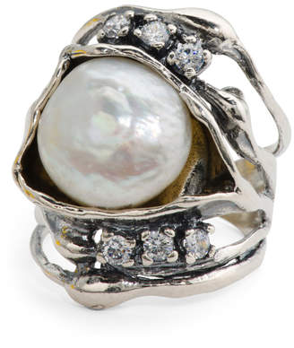 Made In Israel Sterling Silver Baroque Pearl And Cz Ring