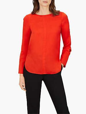 Jaeger Satin Mandarin Collar Piped Blouse, Red Bright
