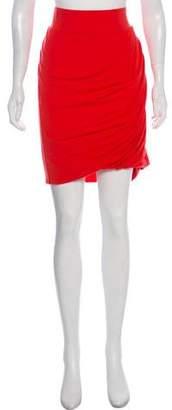 Helmut Lang Wool-Blend Ruched Skirt