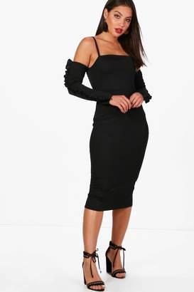 boohoo Charlotte Cold Shoulder Frill Midi Dress